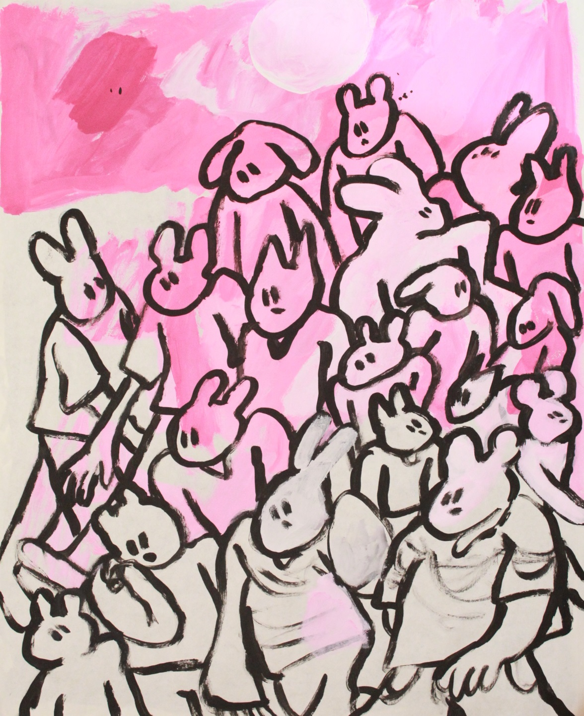 pink crowd, 2019. acrylic on paper.